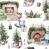 istock Watercolor winter seamless pattern with Christmas interior objects. Hand painted holiday items isolated on white background. Illustration for design, print, fabric or background. 1304382001