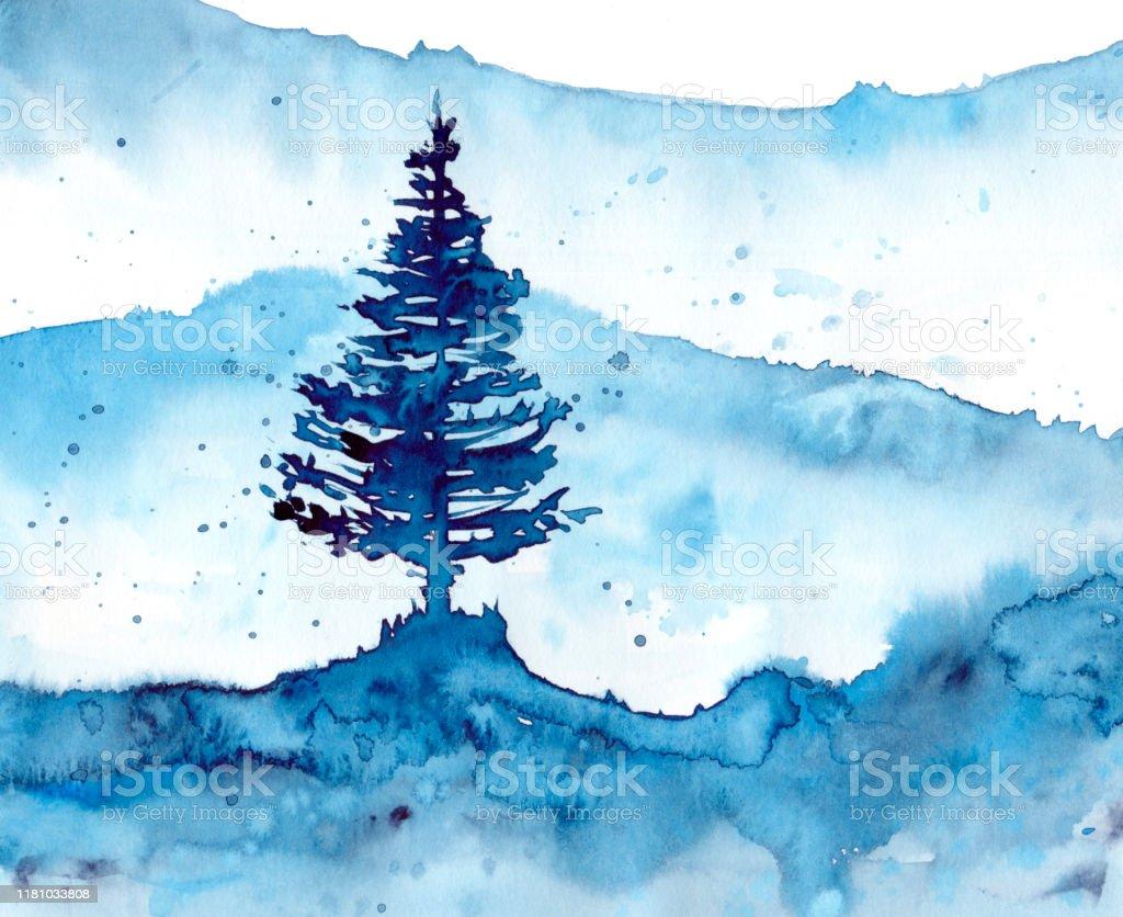 水彩の冬の雪の森と青い背景プリントテクスチャ壁紙や要素のための