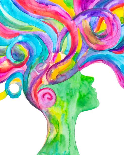 ilustrações de stock, clip art, desenhos animados e ícones de watercolor woman painting with a rose blu hair. hope and happiness - active brain