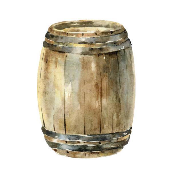 illustrazioni stock, clip art, cartoni animati e icone di tendenza di watercolor wooden wine barrel isolated on white background - mika