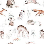 istock Watercolor Woodland animal Scandinavian seamless pattern. Fabric wallpaper background with Owl, hedgehog, fox and butterfly, rabbit forest squirrel and chipmunk, bear and bird baby animal, 1251219393