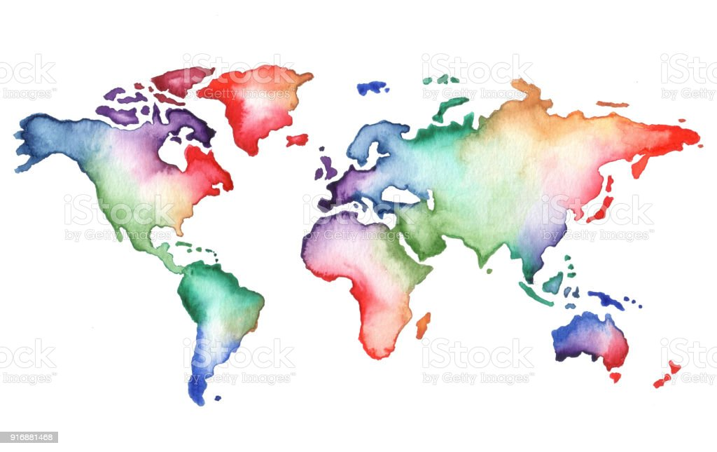 Watercolor world map vector art illustration