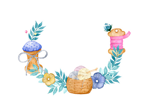 Watercolor wreath frame with sewing tools, with needlework. Bobbin with a satin ribbon, a basket with balls of knitting threads, a bobbin with a pin cushion. Design for needlewomen, knitters, seamstresses.