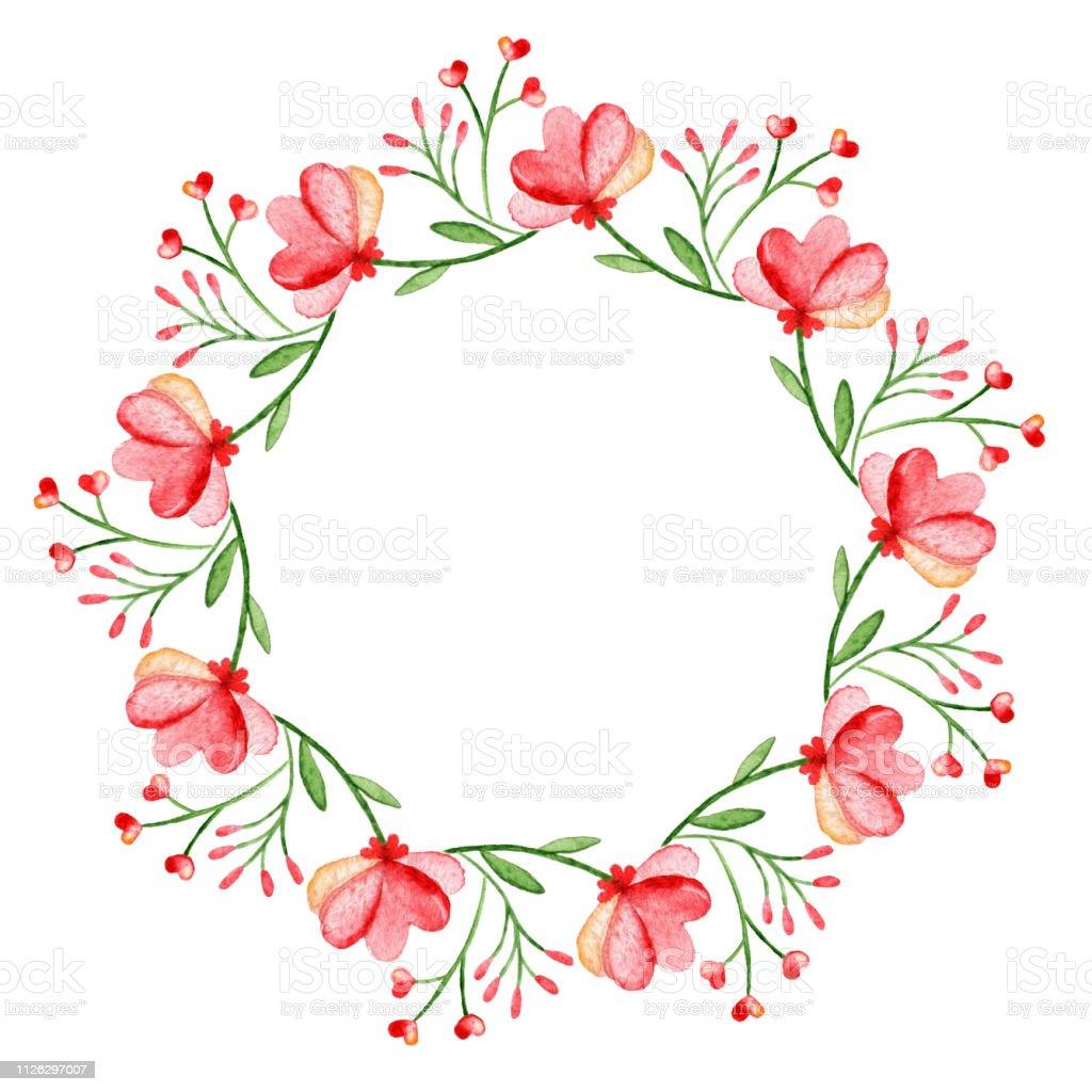 Couronne De Laquarelle Cadre Avec Les Fleurs De Printemps