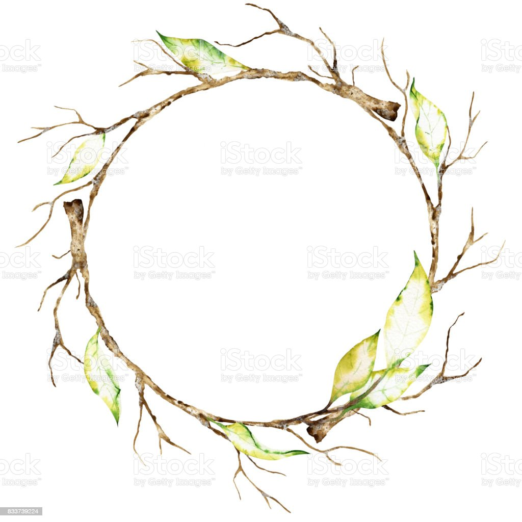 Watercolor Wreath Of Dry Autumn Branches Stock Illustration
