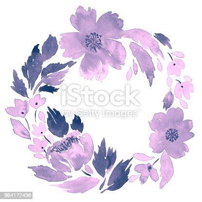 ᐈ Imagen De Guirnalda De Acuarela De Flores Sueltas