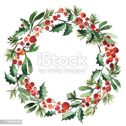 istock Watercolor wreath of spruce with holly berries and mistletoe for Christmas decoration 1179599098