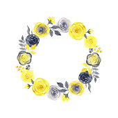 istock Watercolor wreath of yellow and gray flowers and leaves. 1321114677