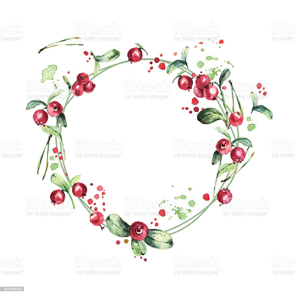 Watercolor wreath, red berries, green branches and leaves vector art illustration