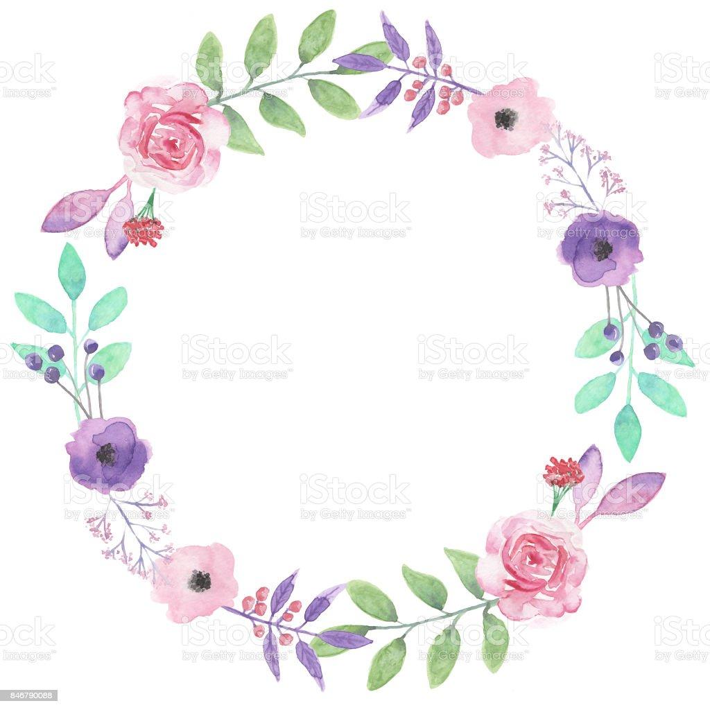 Watercolor Wreath Summer Spring Pink Purple Flowers Hand Painted