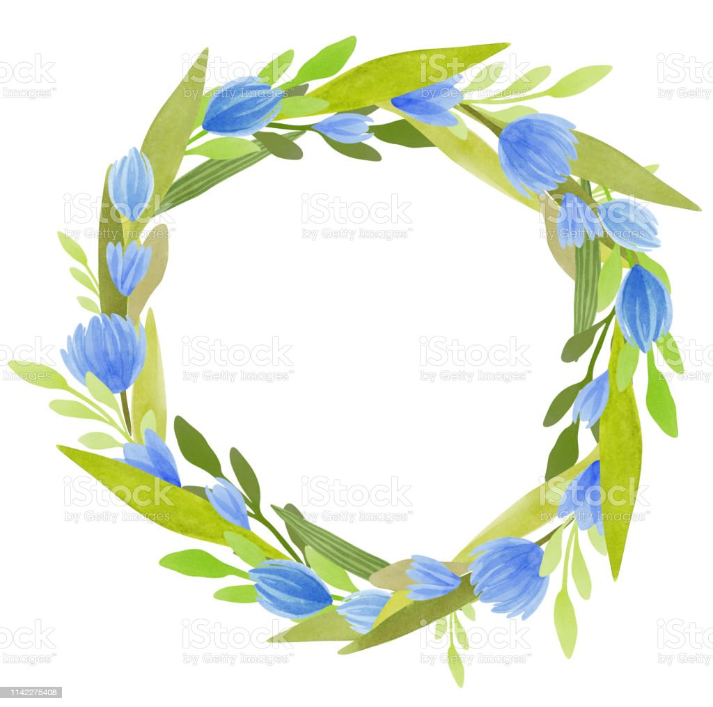 Watercolor wreath with blue flowers and green leaves. Botanical...