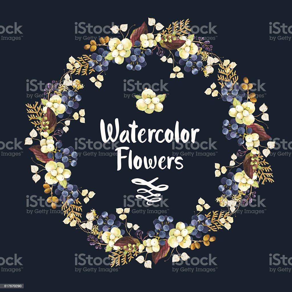 Acquerello ghirlanda con fiori e frutti di bosco. - illustrazione arte vettoriale