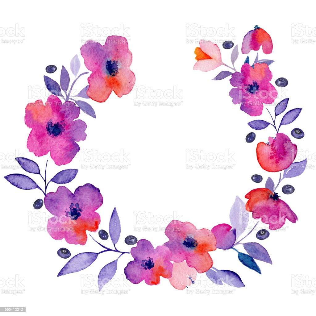 Watercolor wreath with pink flowers. royalty-free watercolor wreath with pink flowers stock vector art & more images of abstract