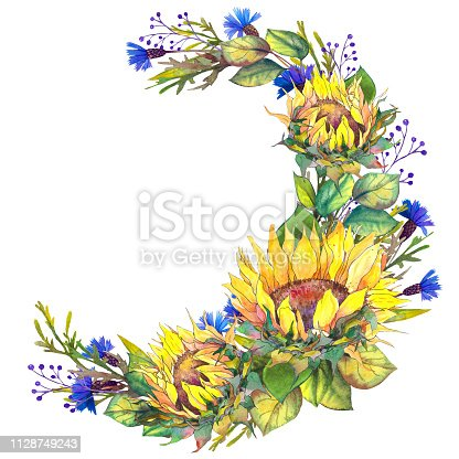 Watercolor wreath with sunflowers, leaves and blue cornflowers. Hand drawn illustration on white background.