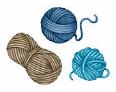 Watercolor Yarn Skeins set. Balls of turquoise blue brown wool Threads. Needlework, Knitting, Crochet Hobby. Hand drawn clip art, elements isolated for knitters blog design, logo, poster, pattern