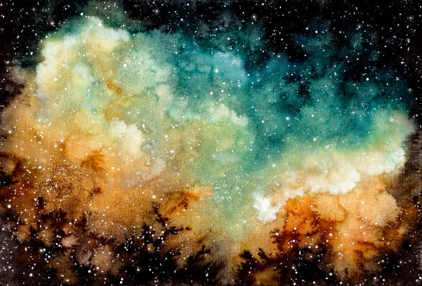 illustrazioni stock, clip art, cartoni animati e icone di tendenza di watercolor yellow nebula, stars and dark sky - big bang