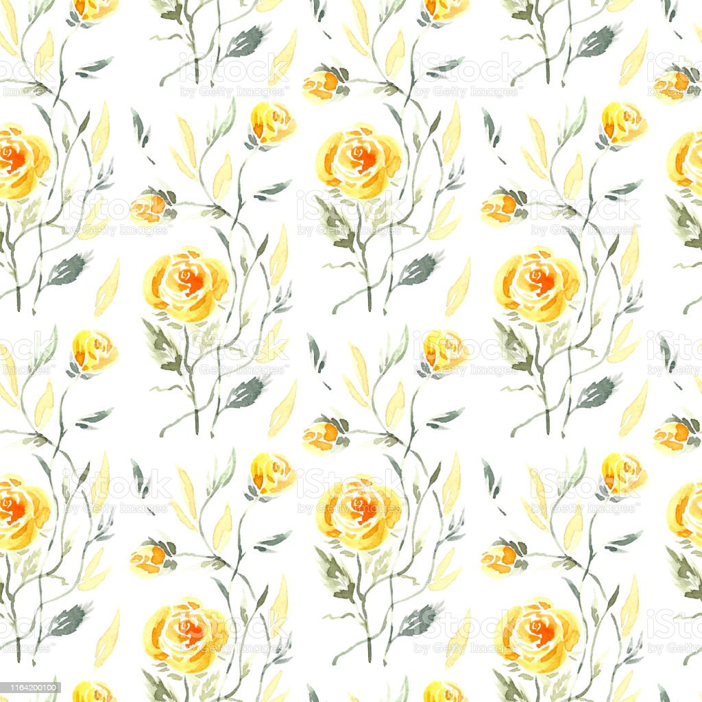 Watercolor Yellow Roses With Leaves Vintage Floral Background