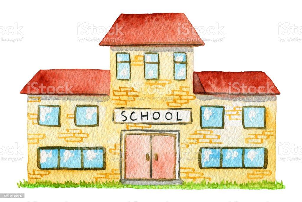 Escola aquarela amarelo - Ilustração de Aberto royalty-free