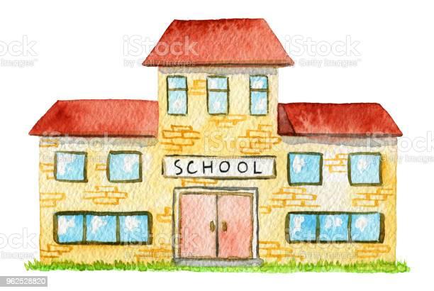 Vetores de Escola Aquarela Amarelo e mais imagens de Aberto