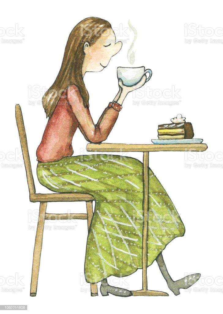 Aan De Tafel.Aquarel Jonge Vrouw Zit Aan De Tafel En Het Drinken Van Hete Thee