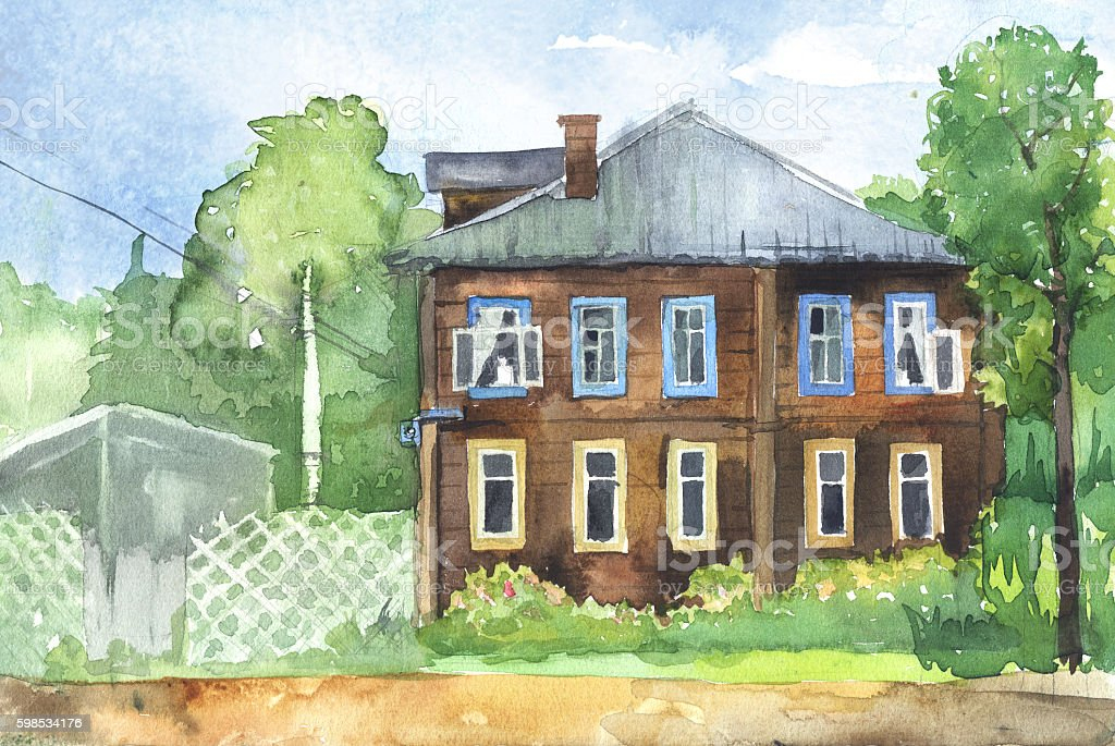Watercolored illustration of a wooden house watercolored illustration of a wooden house – cliparts vectoriels et plus d'images de aquarelle libre de droits