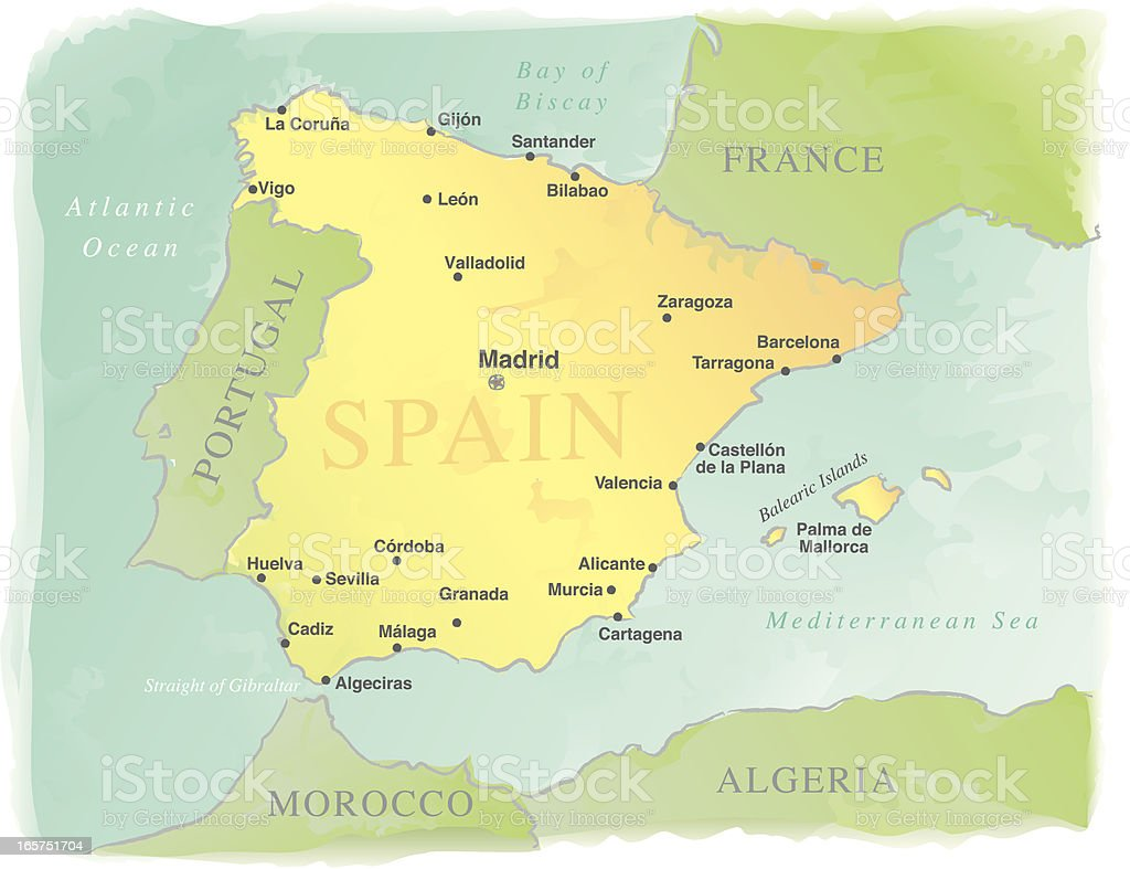 Watercolor-Style Vector Map of Spain royalty-free watercolorstyle vector map of spain stock vector art & more images of algeria