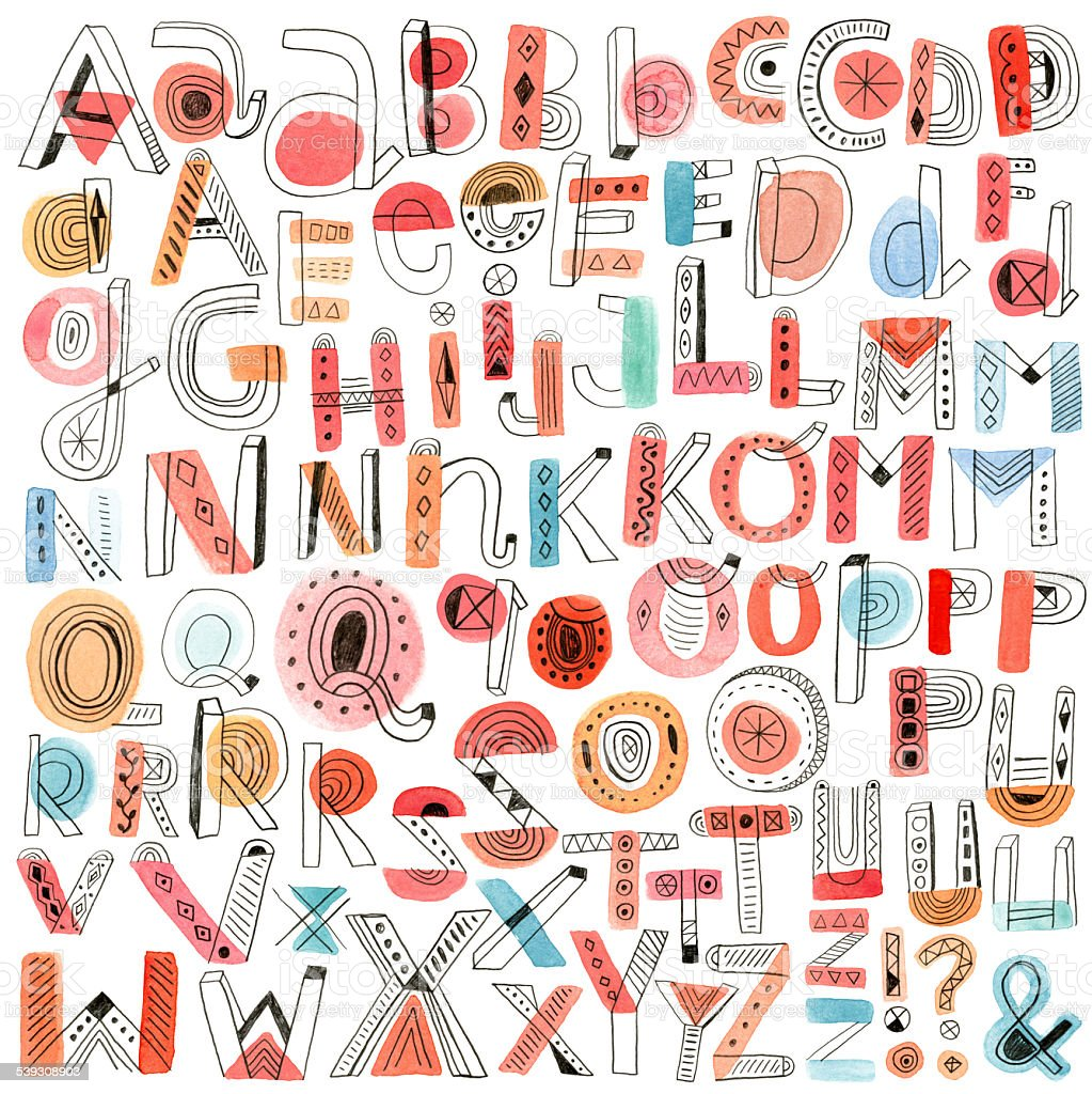 Watercolour and pencil doodle alphabet vector art illustration