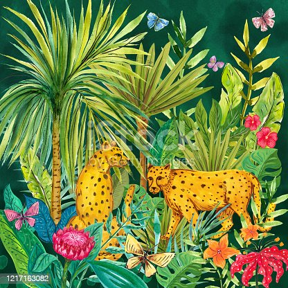 Watercolor painting. Wild cats and tropical plants.