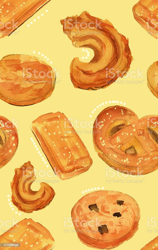 Watercolour Danish butter cookies seamless background pattern vector art illustration