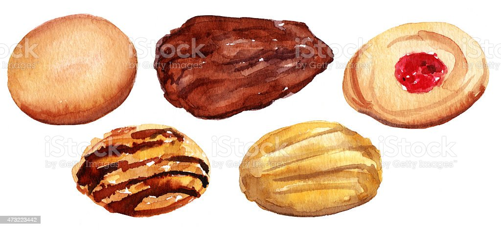 Watercolour drawing of traditional tea cookies, isolated vector art illustration