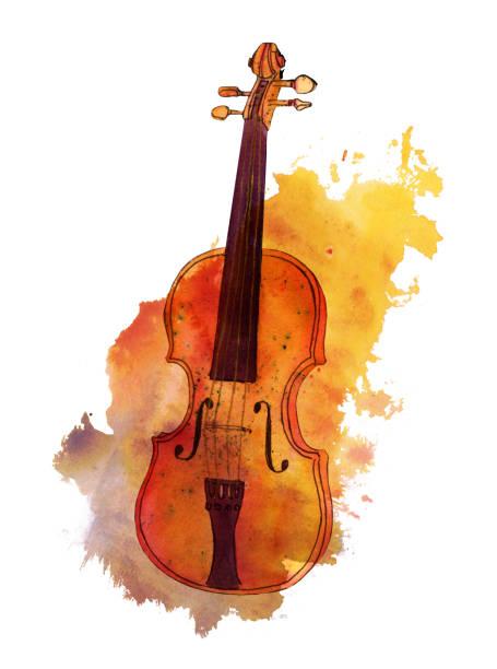 bildbanksillustrationer, clip art samt tecknat material och ikoner med akvarell, teckning av fiol på textur fläcken med copyspace - violin