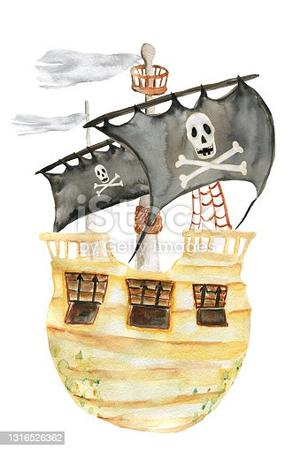 istock Watercolour drawing with a pirate ship for postcards. Illustrations for parties. For printing 1316526362