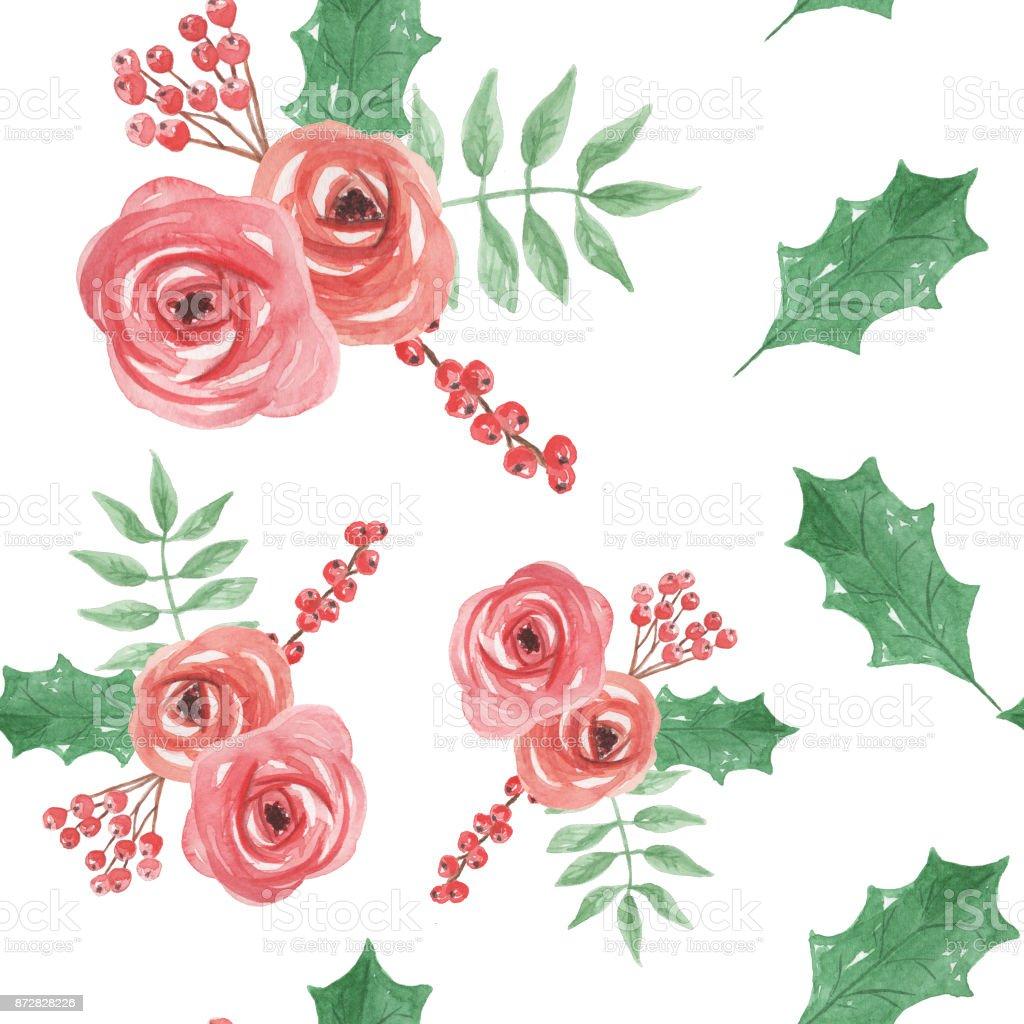 Ilustración de Acuarela Festiva Floral Acebo Sin Costura Patrones ...