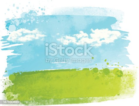 Abstract watercolour background design of a field with sky and clouds, using a halftone texture and paint splatters. Global colours are easily changed.