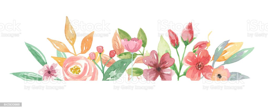 Watercolour Flower Border Pretty Sprint Summer Hand Painted Florals Royalty Free