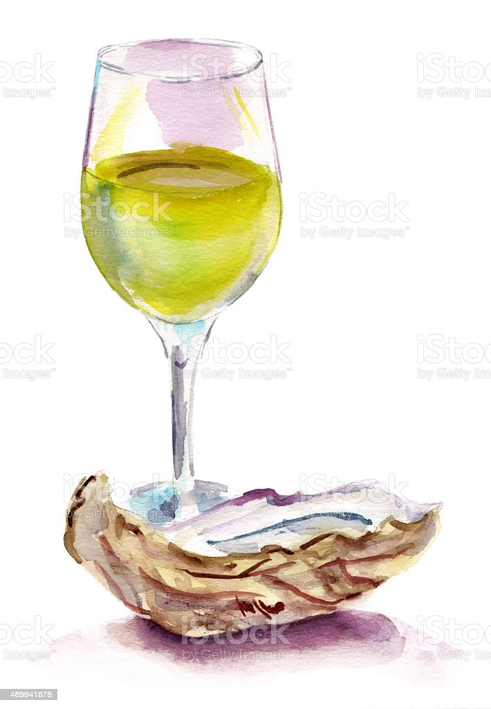 Watercolour glass of white wine with oyster on white background vector art illustration