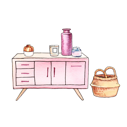 Watercolour hand-painted interior design furniture and decor illustration