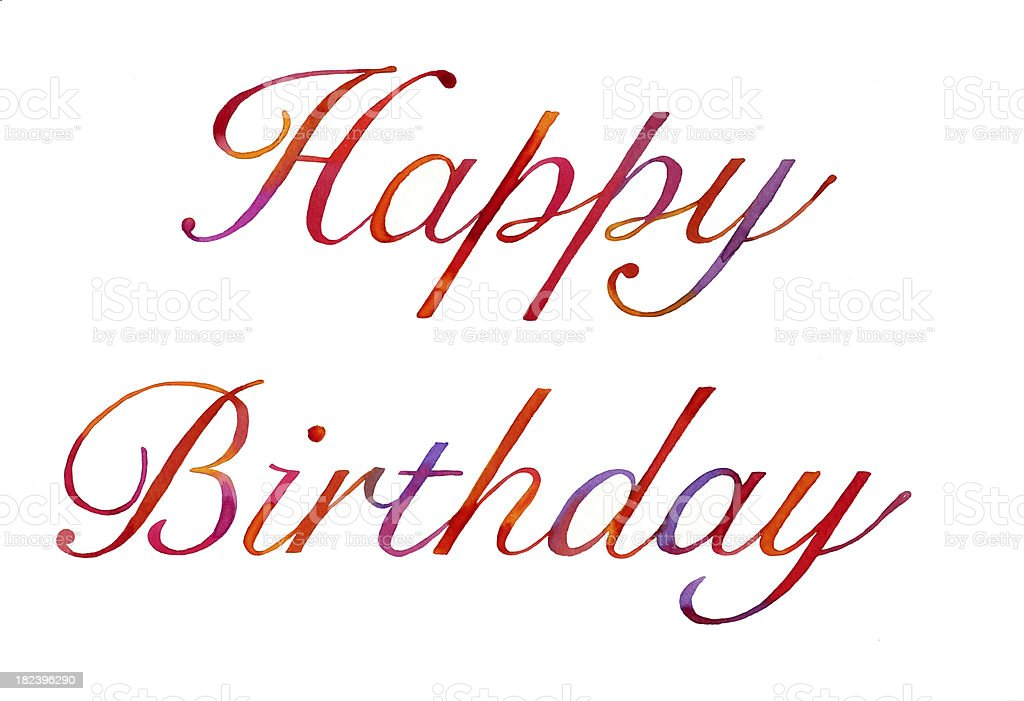Watercolour happy birthday royalty-free stock vector art