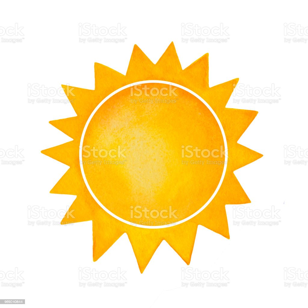 Watercolour Illusrtration Of Decorative Sun With Spiked Crown Symbol