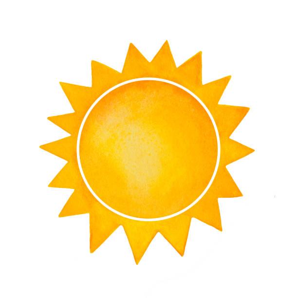bildbanksillustrationer, clip art samt tecknat material och ikoner med akvarell illusrtration dekorativa solen med spetsiga kronan. symbol för energi, kraft, livet, lycka, värme, lyse. - spain solar