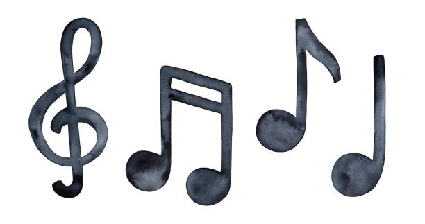 Watercolour illustration collection of musical symbols: clef and music notes. Handdrawn black water color grungy painting on white background, cut out clip art elements for creative design decoration. Hand drawn watercolor illustration. lyric stock illustrations