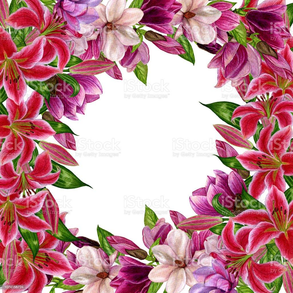 Aquarellillustration Magnolia Blumen Lilien Und Grune Blatter