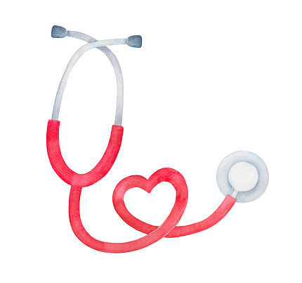 Watercolour illustration of bright red stethoscope, shaped as a heart. One single object, top view. Hand painted water color graphic drawing on white, cutout clipart element for design decoration.