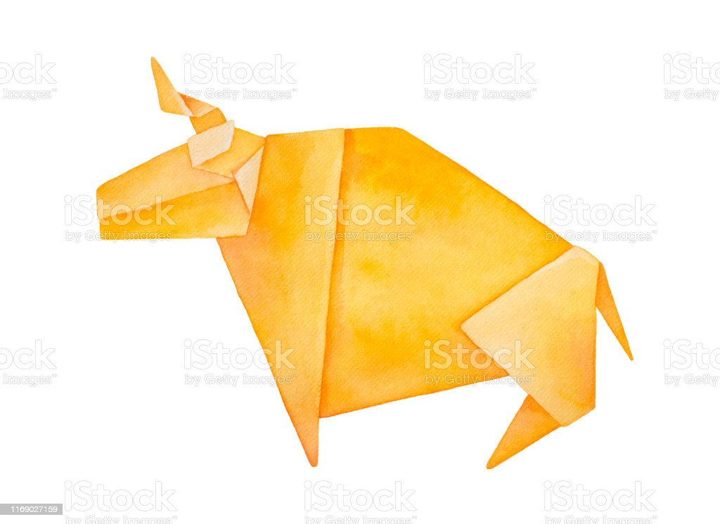 Origami Bull Recycle Paper Stock Photo - Download Image Now - iStock | 745x1024