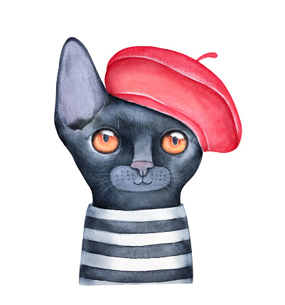 Watercolour illustration of little black kitten wearing bright red french beret and striped tee shirt. Hand painted water color graphic drawing, cutout clipart element for design, poster, card, print.