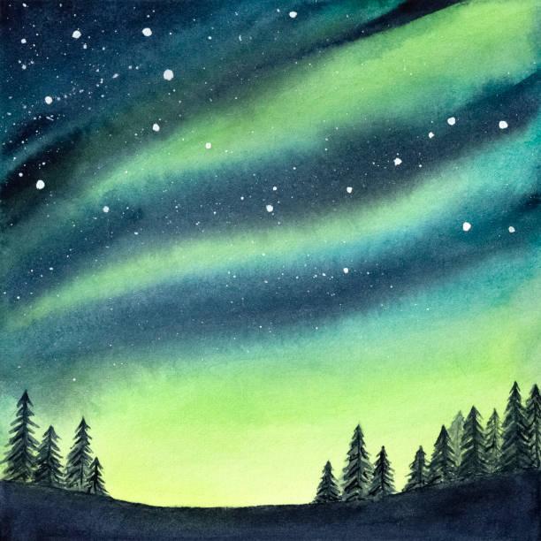 bildbanksillustrationer, clip art samt tecknat material och ikoner med akvarell illustration av fridfull, fridfull granskog under färgglada norrsken och stjärnhimmel. handritade vatten färg toning ritning, bakgrund för kreativ design, skriva ut, tapeter. - northern lights