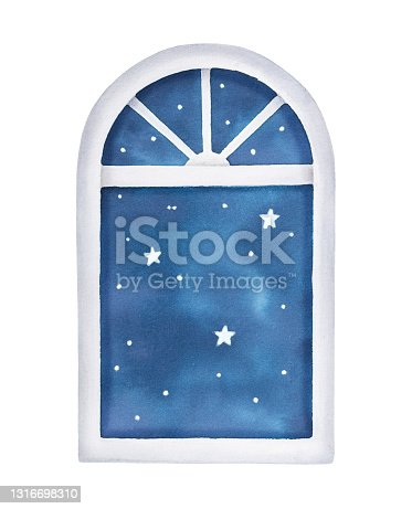 istock Watercolour illustration of window with night starry sky scene. Symbol of sleep, rest time, lullaby, insomnia. Handdrawn water color graphic painting, cut out clip art element dor design decoration. 1316698310