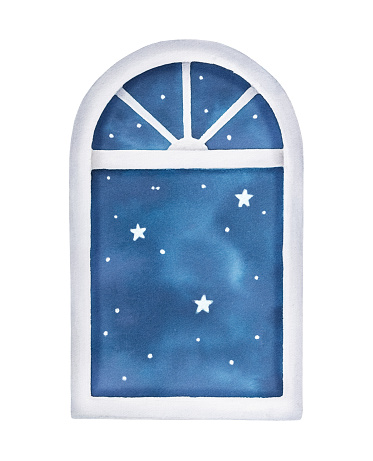 Watercolour illustration of window with night starry sky scene. Symbol of sleep, rest time, lullaby, insomnia. Handdrawn water color graphic painting, cut out clip art element dor design decoration.