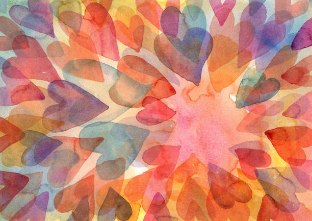 watercolour layered hearts background - valentine's day holiday stock illustrations