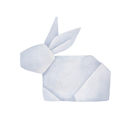 Watercolour of folded Origami Rabbit. Emblem of purity, nature, speed, good luck, intuition, gentleness. Handdrawn water color artistic painting on white background, cutout clipart element for design.
